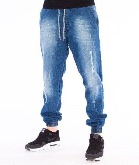 SmokeStory-Jogger Premium Slim Jeans Guma Spodnie Light Blue Przecierane