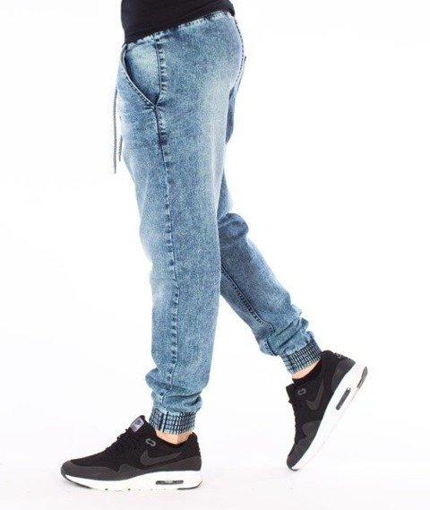 SmokeStory-Jogger Premium Slim Jeans Guma Spodnie Marmurki Light Blue