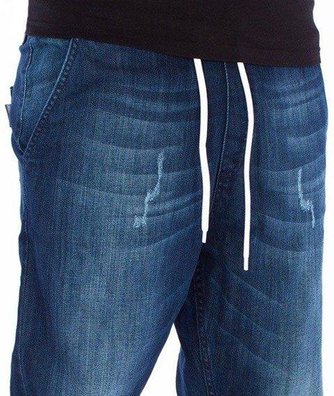 SmokeStory-Jogger Regular Guma Dark Jeans Lekko Przecierane