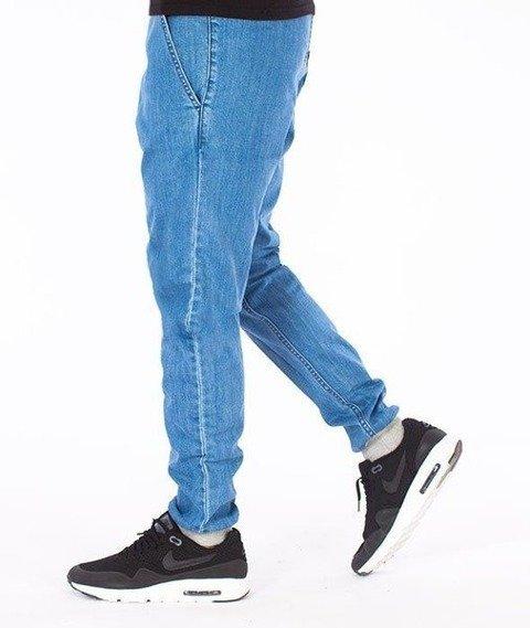 SmokeStory-Jogger Slim Jeans Szary Dół Spodnie Light Blue