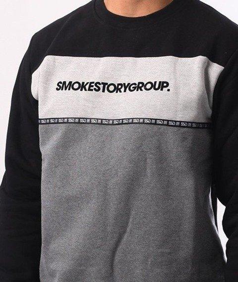 SmokeStory-One Line Crewneck Bluza Czarny Szary