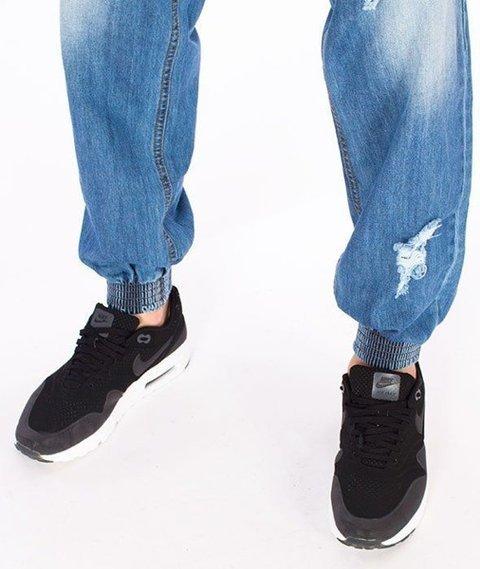 SmokeStory-Premium Jogger Jeans Regular Spodnie Wycierane z Dziurami