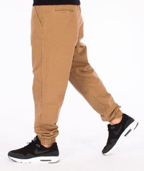 SmokeStory-Tkanina Regular Jogger Spodnie Beżowe