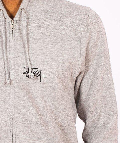 Stussy-Basic Logo Zip Hood Grey Heather