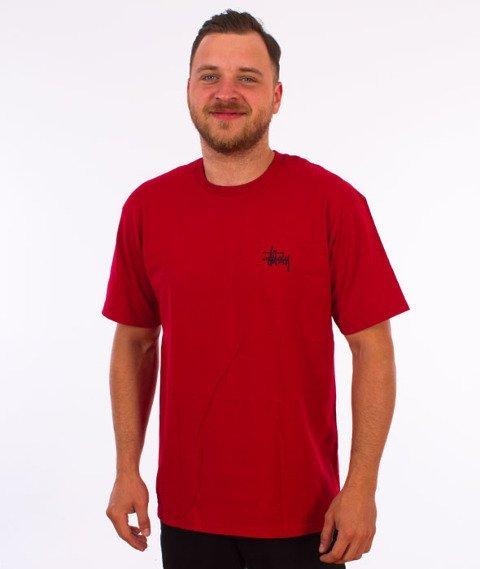 Stussy-Basic Stussy T-Shirt Dark Red