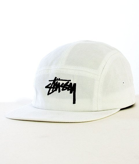 Stussy-Camp 5 Panel Snapback White