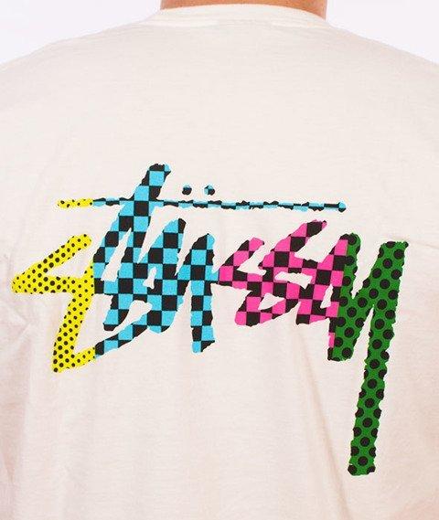 Stussy-Checker Stock Pig. Dyed T-Shirt Natural