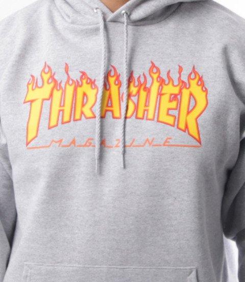 Thrasher-Flame Hood Bluza Kaptur Szara
