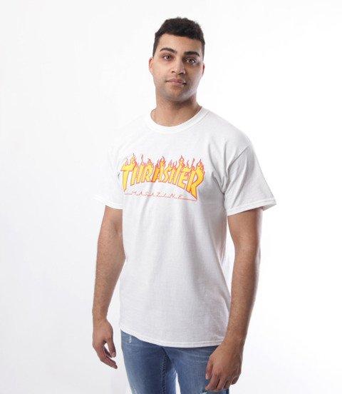 Thrasher-Flame Logo T-Shirt Biały
