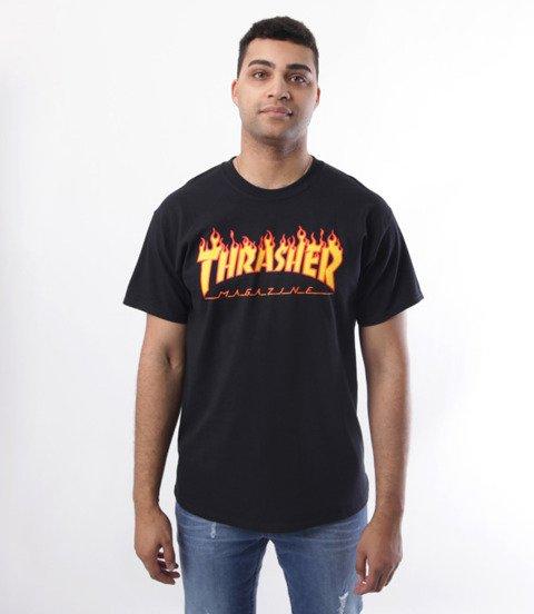 Thrasher-Flame Logo T-Shirt Czarny