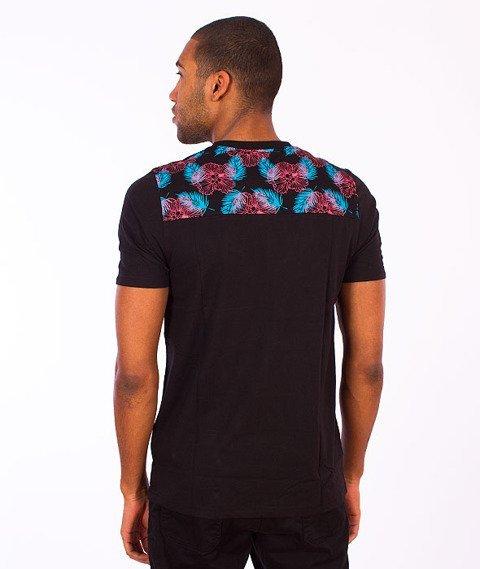 Wrung-Pocket Flowers T-Shirt Czarna
