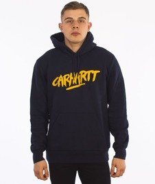 Carhartt-Hooded Painted Script Sweat Navy/Quince