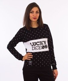 Lucky Dice-Dot Cut Girl Crewneck Bluza Damska Czarna/Biała