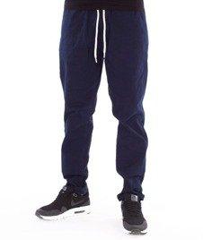 SmokeStory-Jeans Stretch Straight Fit Guma Spodnie Tkanina Granat