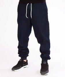 SmokeStory-Jogger Slim Jeans Haft Guma Spodnie Dark Blue