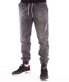 SmokeStory-Jogger Slim Jeans Slim Black Spodnie Szary Lekko Przecierany